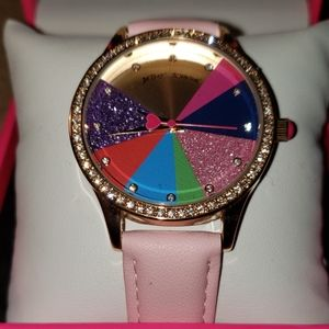 Betsey Johnson My piece of rainbow pie pink watch